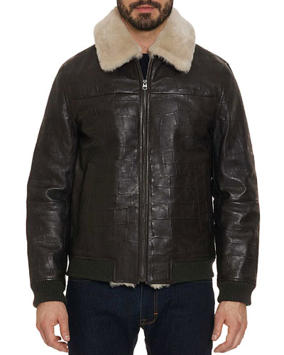 Men's Corson Bomber Jacket with Shearling Trim