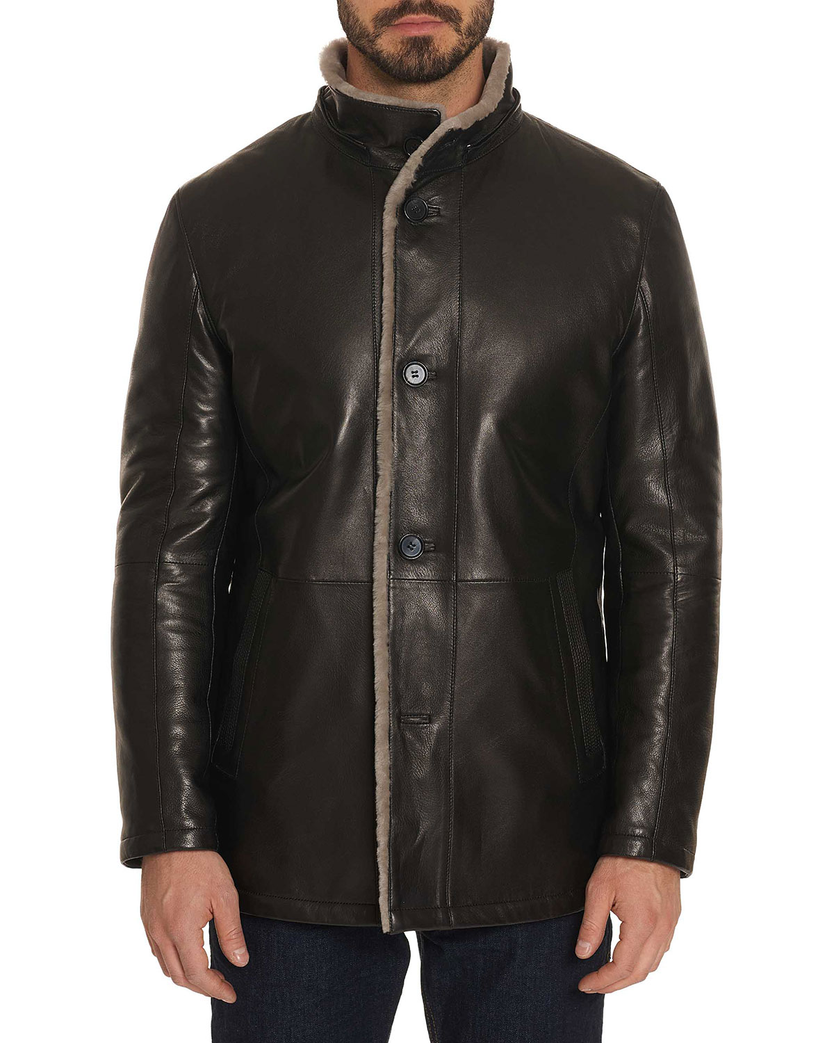 Robert Graham Men S Benson Shearling Fur Lined Leather Jacket