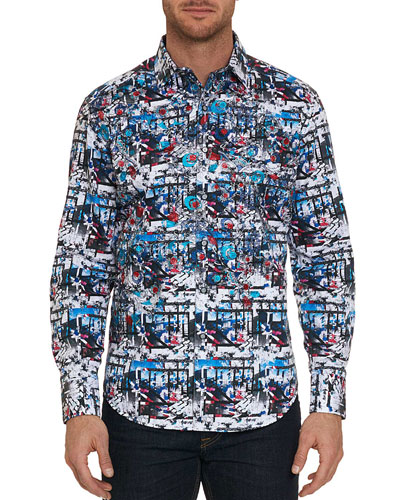 Men's Larson Maze-Print Sport Shirt