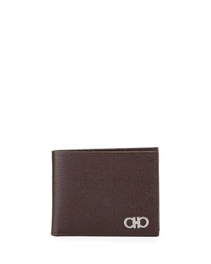 Salvatore Ferragamo Men s Revival Gancini Bi-Fold Leather Wallet, Brown 1716d7874a