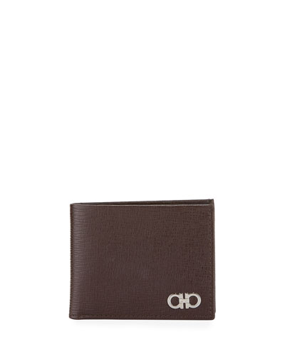 Men's Revival Gancini Bi-Fold Leather Wallet, Brown