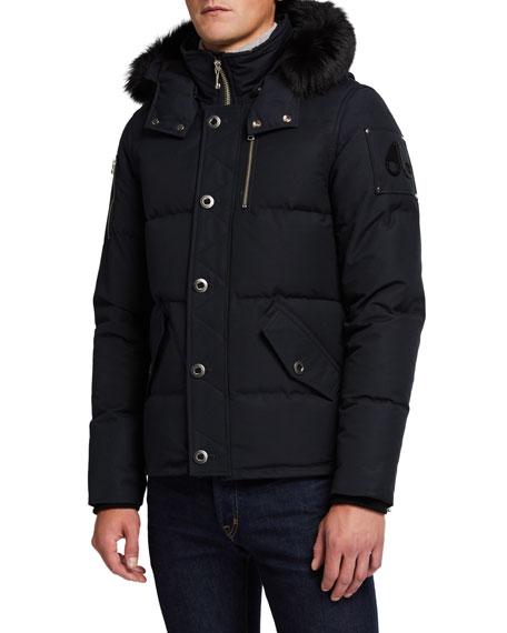Moose Knuckles Men's 3Q Fur-Trim Bomber Coat