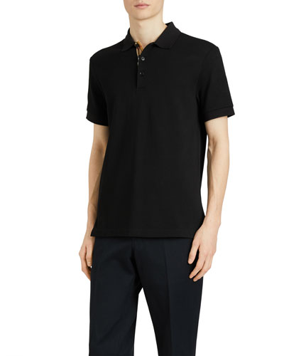 Men's Hartford Check-Facing Polo Shirt, Black