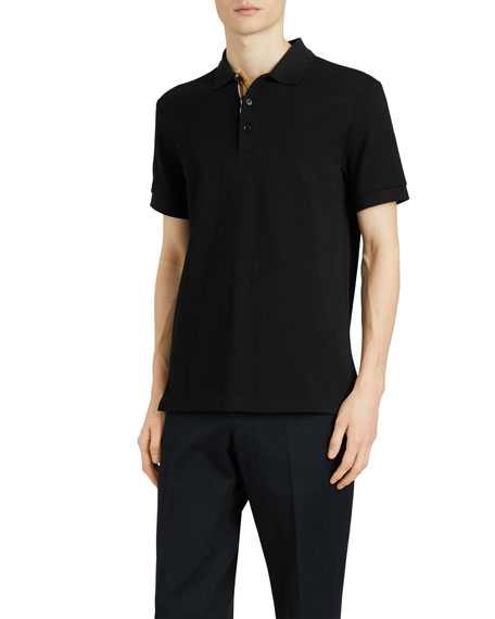 Burberry Men's Hartford Check-Facing Polo Shirt, Black