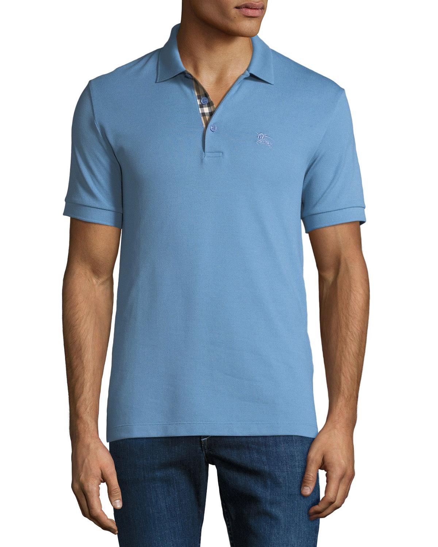 Burberry Mens Hartford Polo Shirt Light Blue Neiman Marcus