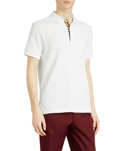 Men's Hartford Check-Facing Polo Shirt, White