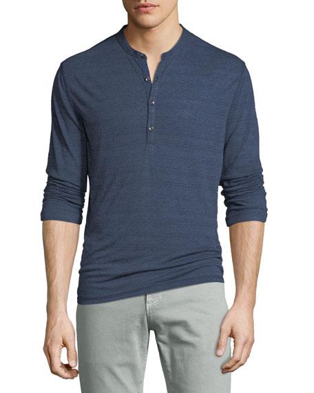 John Varvatos Star USA Men's Cover-Stitch Henley Shirt