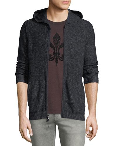 Men's Mixed-Stitch Zip-Front Hoodie