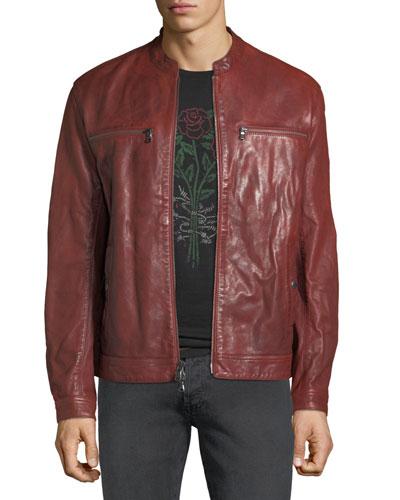 Men's Leather Stitch-Detail Racer Jacket