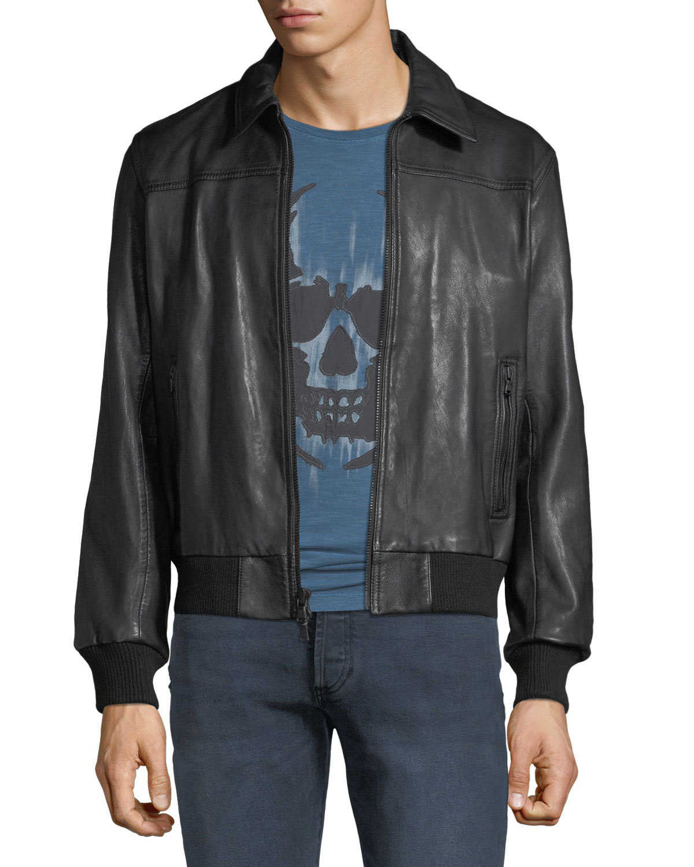 John Varvatos Star USA Men s Leather Bomber Jacket  0771822f8e27