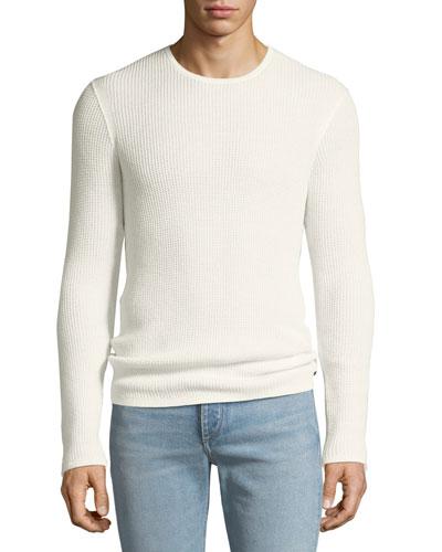 Men's Waffle-Knit Crewneck Sweater