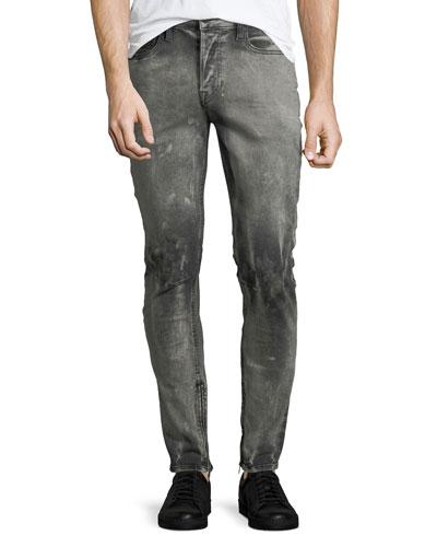 Men's Vaughn Skinny Ankle-Zip Deconstructed Jeans