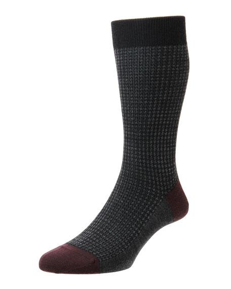 Pantherella Men's Hatherley Houndstooth Socks