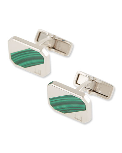 Long-Tail Cuff Links with Malachite Inset