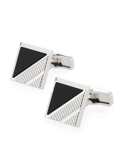 Square Onyx-Inlay Cuff Links