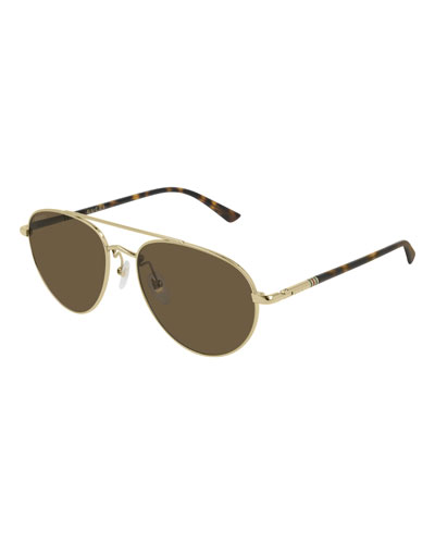 Men's GG0388S006M Metal Aviator Sunglasses - Polarized