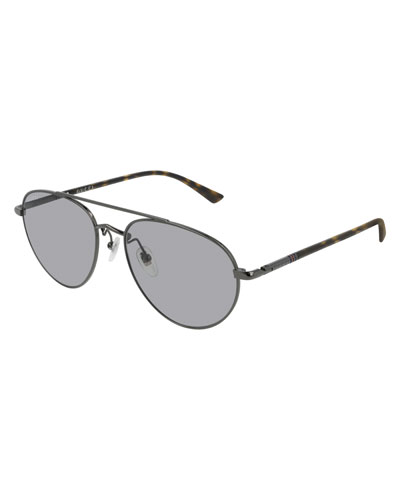 Men's GG0388S006M Metal Aviator Sunglasses