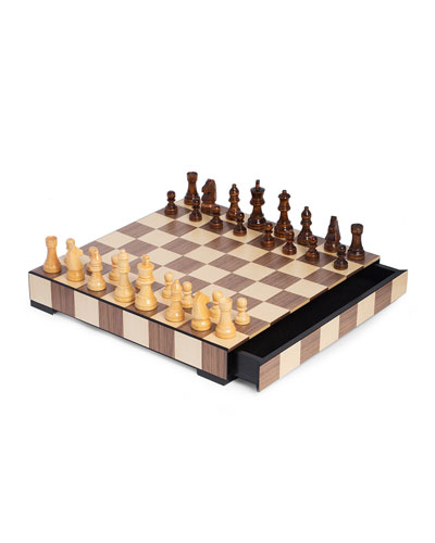 Wood Matte Inlay Chess/Checkers Set