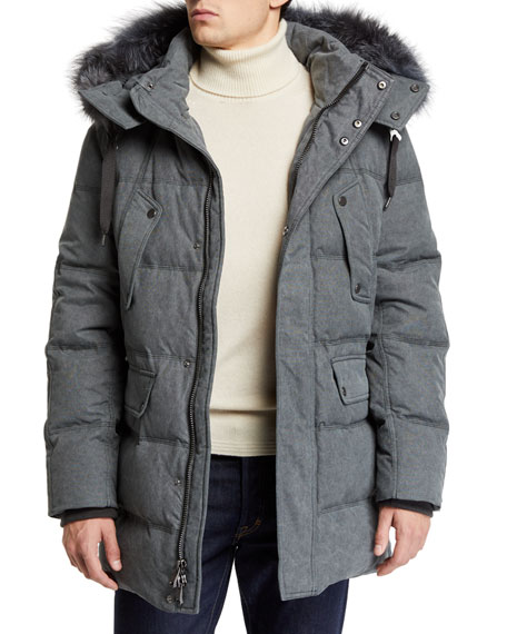 ANDREW MARC Men'S Rockland Down Parka With Fur Trim in Black