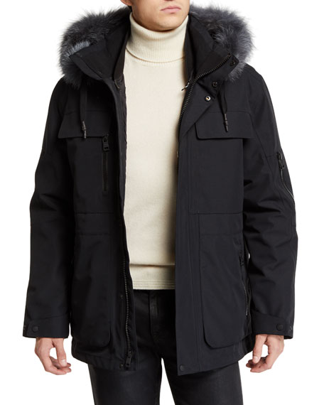 ANDREW MARC Hamilton 3-In-1 Fox-Fur Trimmed Technical Jacket in Black