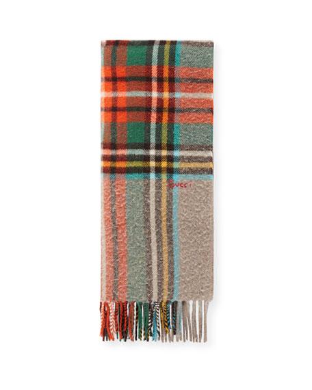 Gucci Men's Multicolor Plaid Wool Scarf