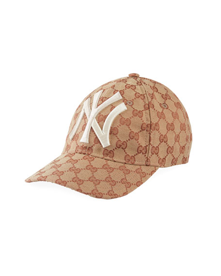 Gucci Men S Logo-Print Baseball Cap With New York Yankees Applique In Beige 34fb37996a8