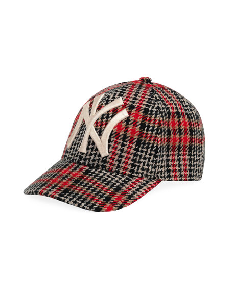 Gucci Men's Houndstooth Baseball Cap with NY Yankees Applique