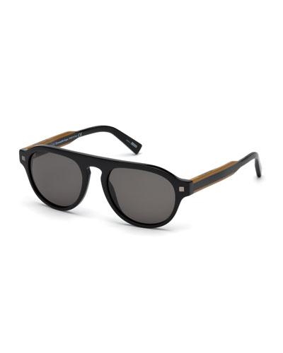 Men's Round Plastic Keyhole Sunglasses