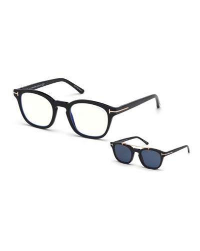 Men's Square Optical Glasses w/ Clip on Blue Block Lenses