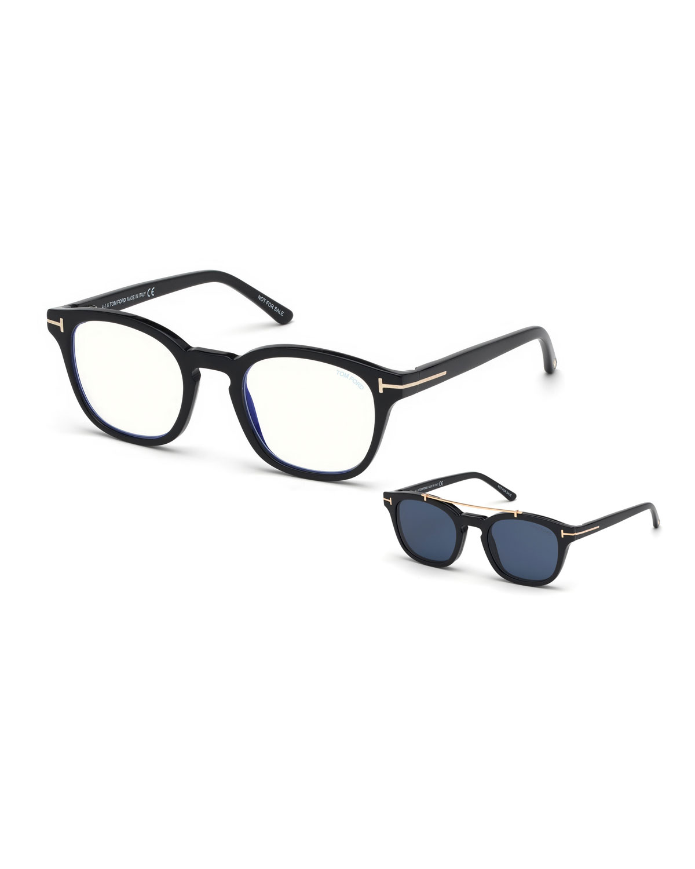 c64a65f856 TOM FORD Men s Square Optical Glasses w  Clip on Blue Block Lenses ...