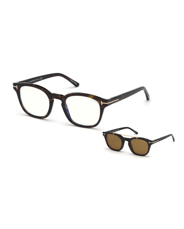 b2e097abbb26 TOM FORD Men's Square Optical Glasses w/ Magnetic Clip On Blue Block Lenses