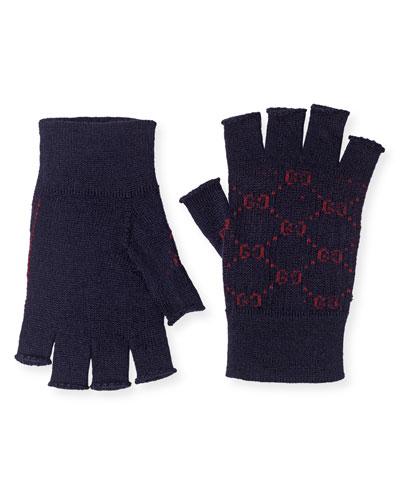 Men's Logo-Knit Fingerless Gloves