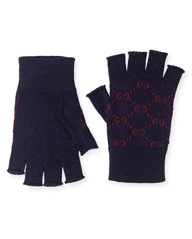 2819a6f8dbae6 Gucci Men's Logo-Knit Fingerless Gloves | Neiman Marcus