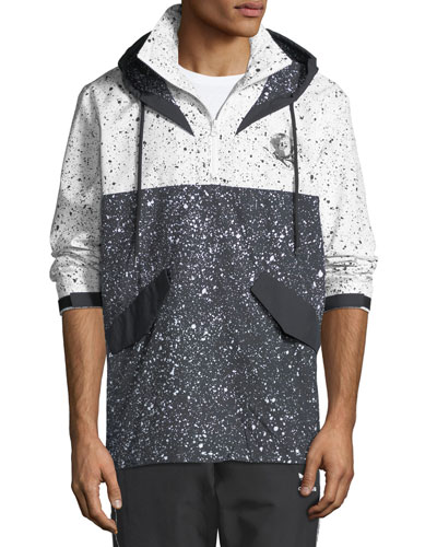 Men's Speckled-Pattern Wind-Resistant Jacket