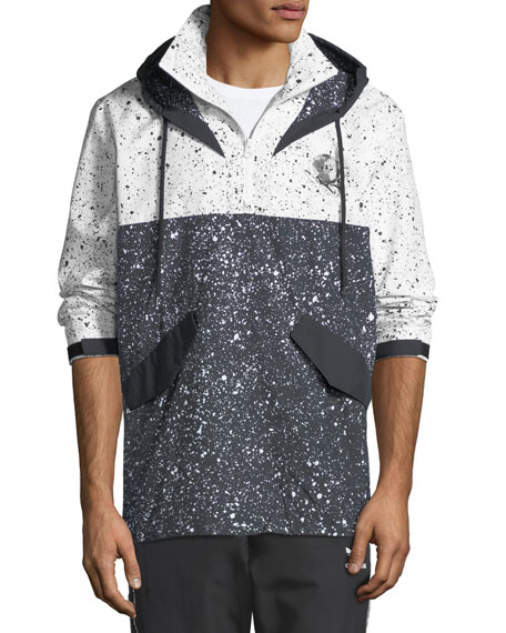 Adidas Men's Speckled-Pattern Wind-Resistant Jacket