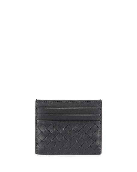Bottega Veneta Men's Woven Leather Credit Card Case