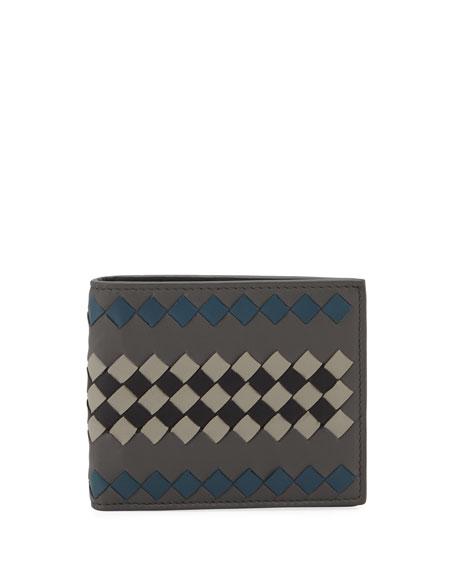 Bottega Veneta Men's Basic Two-Tone Woven Leather Wallet