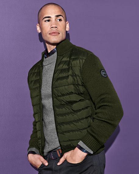 Men's Hybridge Knit Zip-Front Jacket