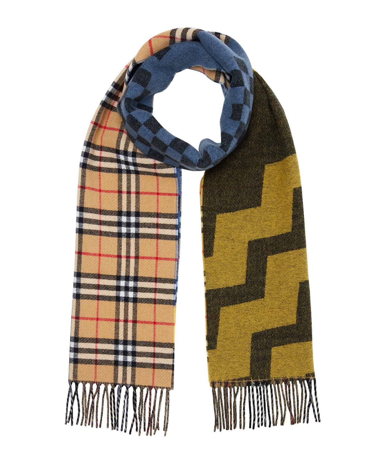 Burberry Men's Colorblock Checkerboard Wool/Cashmere Scarf