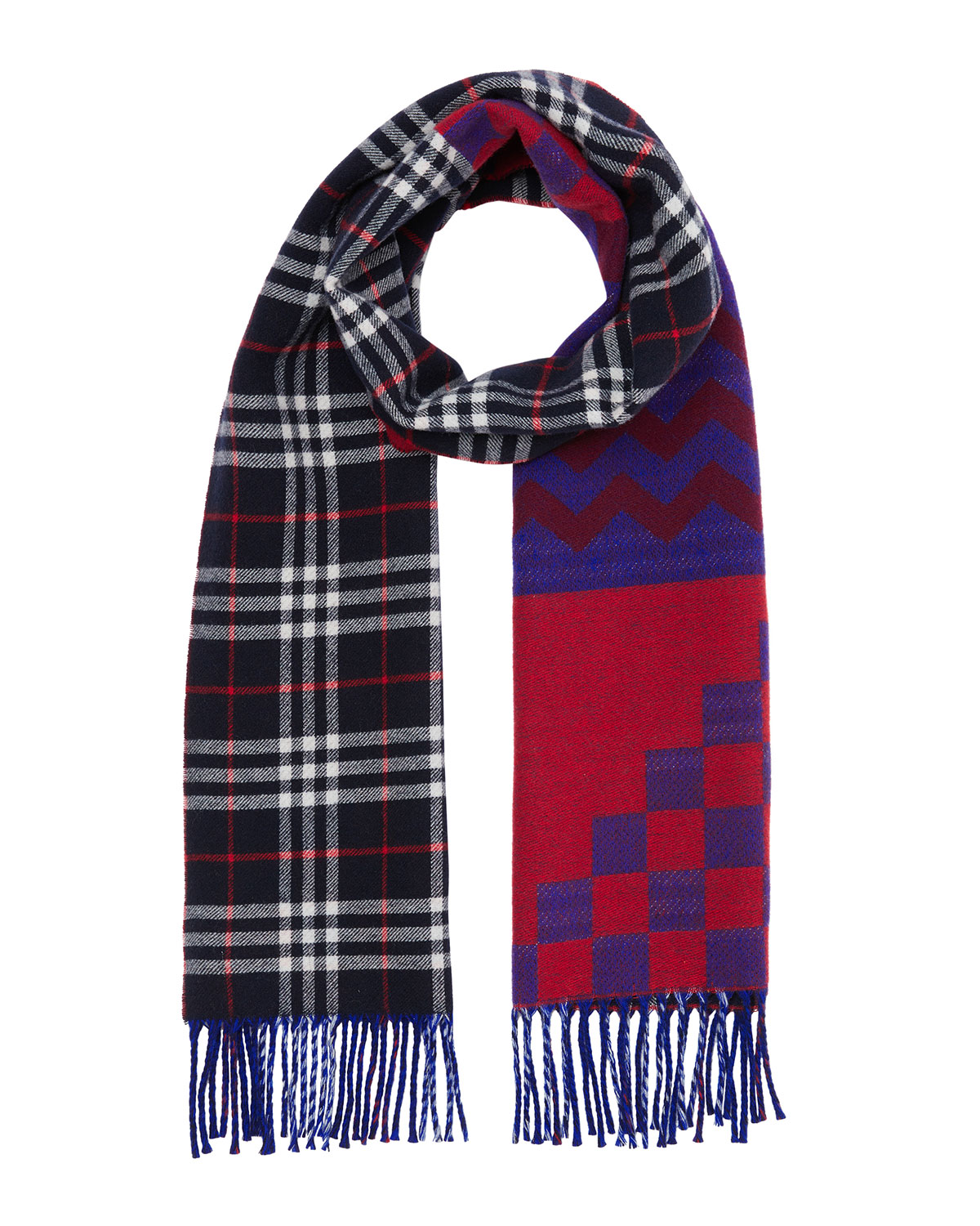 Burberry Men's Zigzag Check Wool/Cashmere Scarf