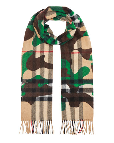 Men's Camo Check Cashmere Scarf