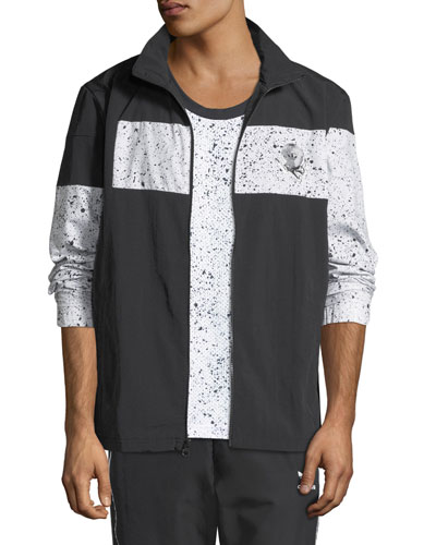 Men's Speckled-Stripe Track Jacket