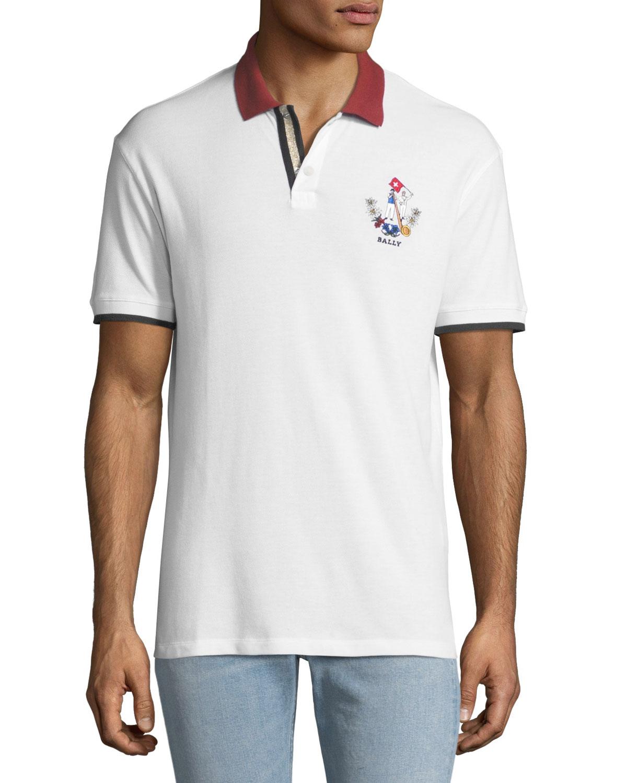 3b47d992 Bally Men's Animals Contrast-Trim Polo Shirt, White | Neiman Marcus