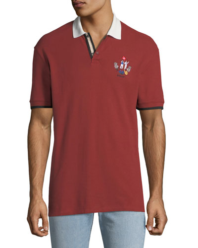 Men's Animals Contrast-Trim Polo Shirt, Red