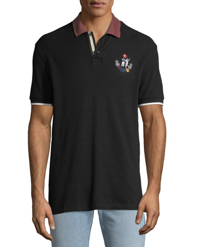 Men's Animals Contrast-Trim Polo Shirt, Black