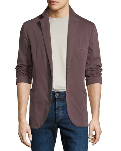 Men's Garment-Washed Patched Jacket