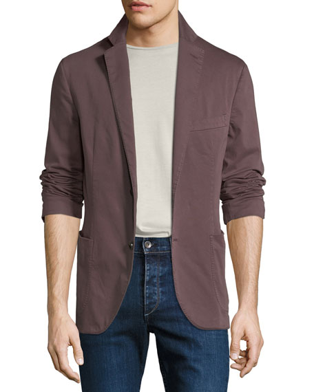 CULTURATA Men'S Garment-Washed Patched Jacket in Maroon