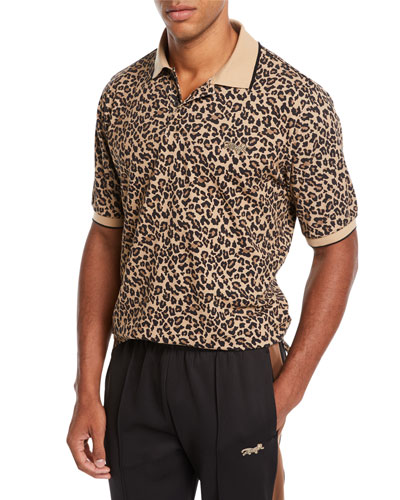 Men's Leopard-Print Polo Shirt