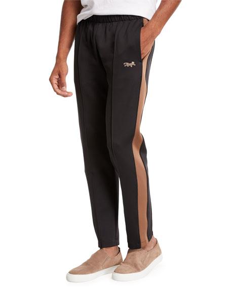 OVADIA & SONS Men'S Leopard-Patch Track Pants in Black