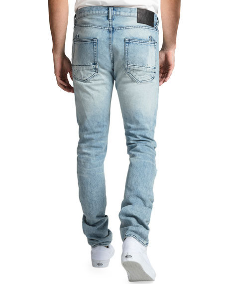 PRPS Men's Rip/Repair Distressed Tapered Jeans with Multi-Stitch